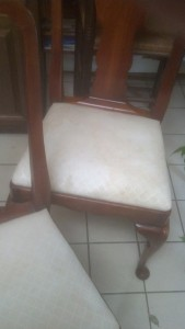 We cleaned a brutal stain of a white upholstered chair in Guilford CT