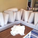 White sectional sofa for a customer in Madison.